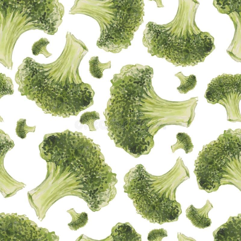 Modelo inconsútil dibujado mano de la acuarela con bróculi ilustración del vector