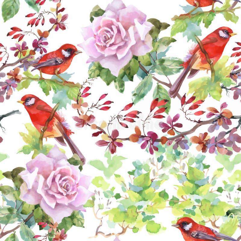 Modelo inconsútil dibujado mano de la acuarela con las flores tropicales del verano y los pájaros exóticos ilustración del vector