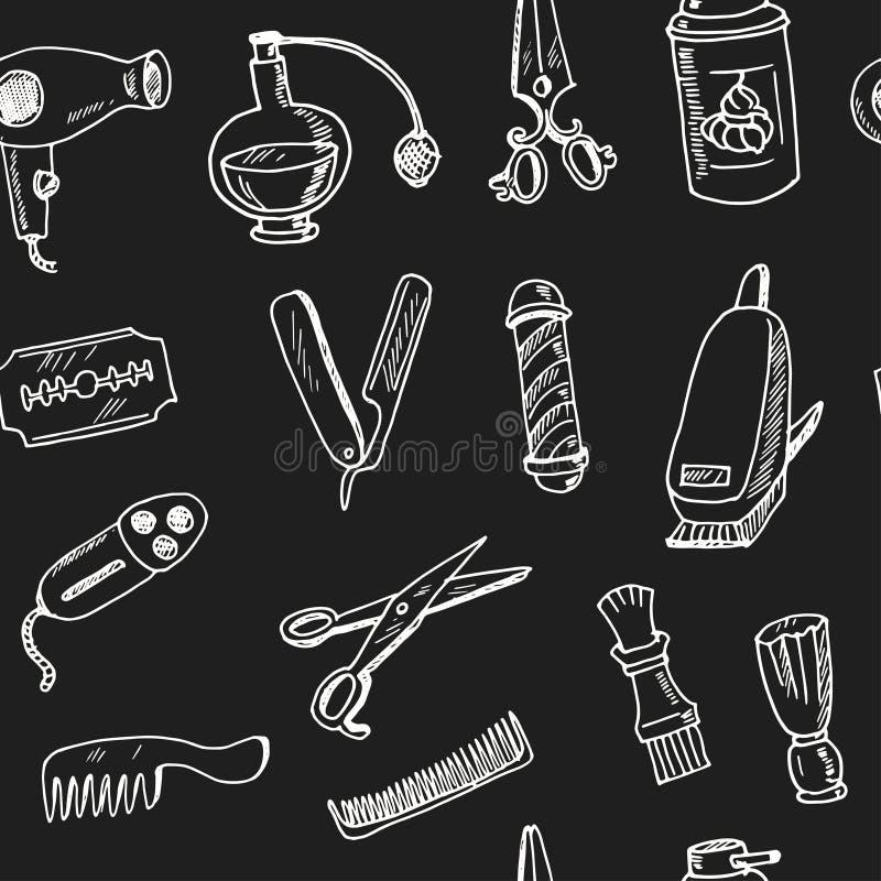 Modelo inconsútil dibujado mano de la barbería del garabato stock de ilustración