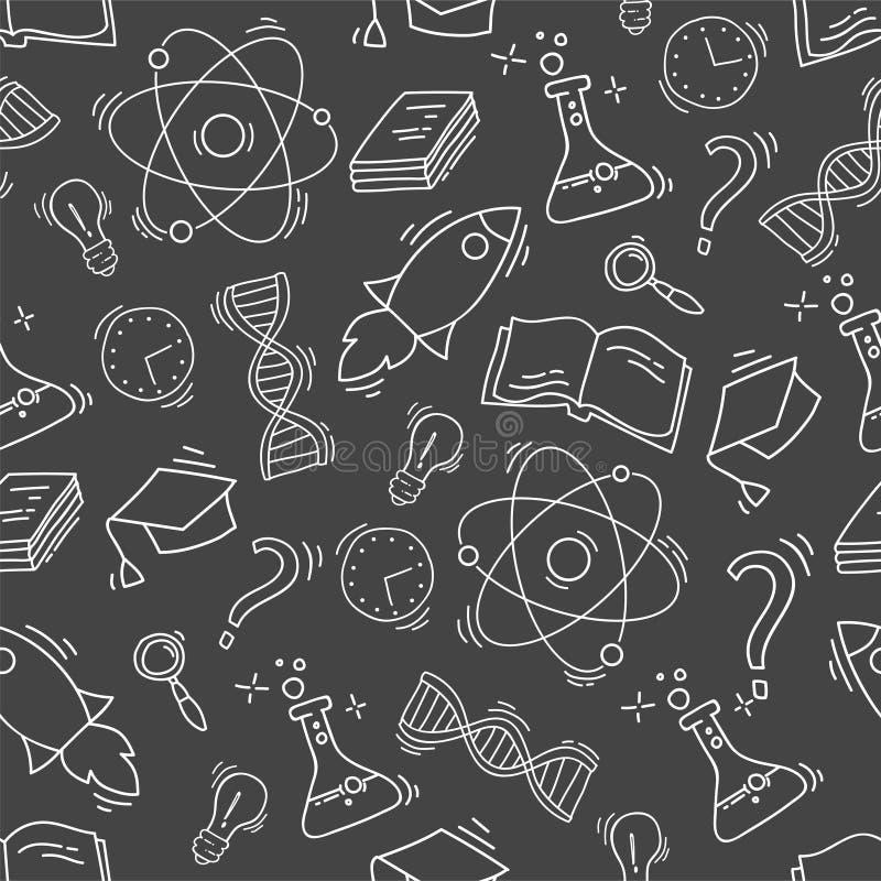 Modelo inconsútil dibujado mano de la ciencia stock de ilustración
