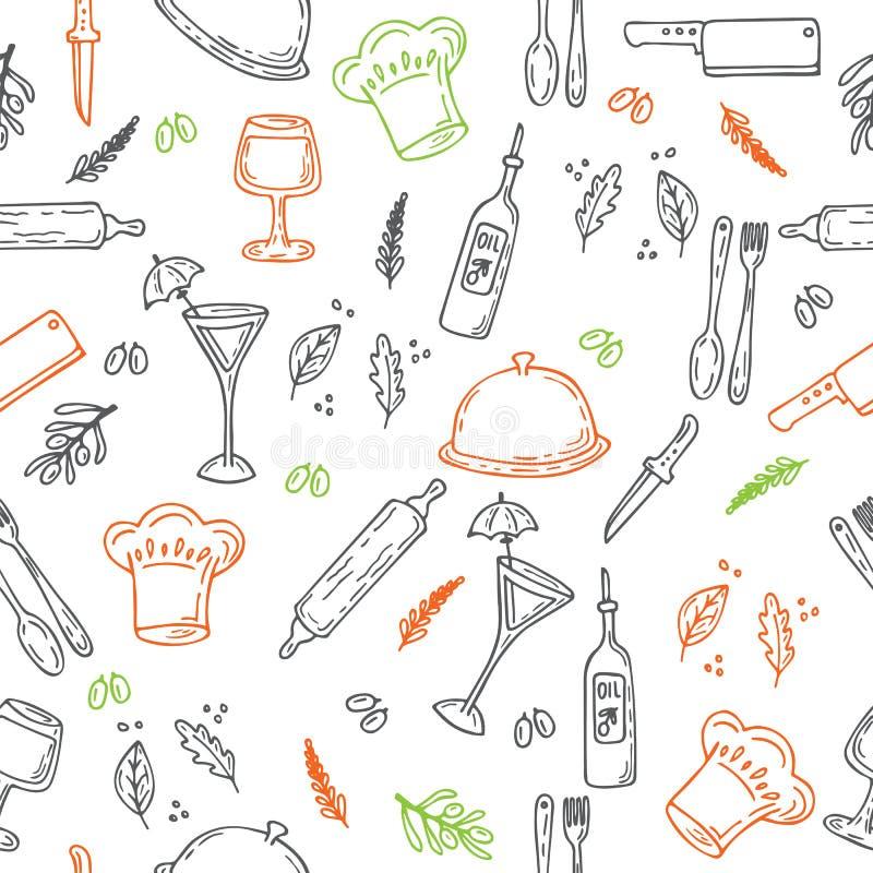 Modelo inconsútil dibujado mano de la comida Elementos de la cocina del bosquejo para el yo stock de ilustración
