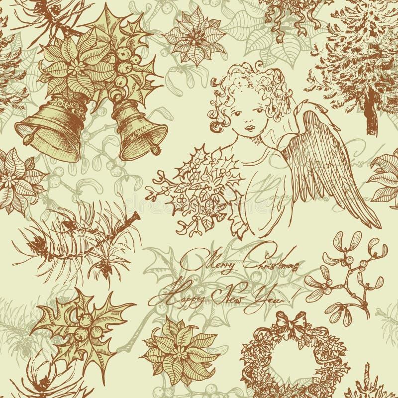 Modelo inconsútil dibujado mano de la Navidad del vintage stock de ilustración