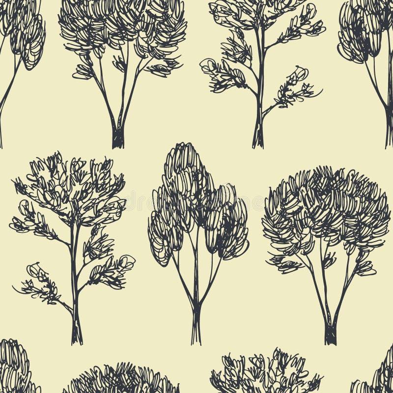 Modelo inconsútil dibujado mano de los árboles stock de ilustración