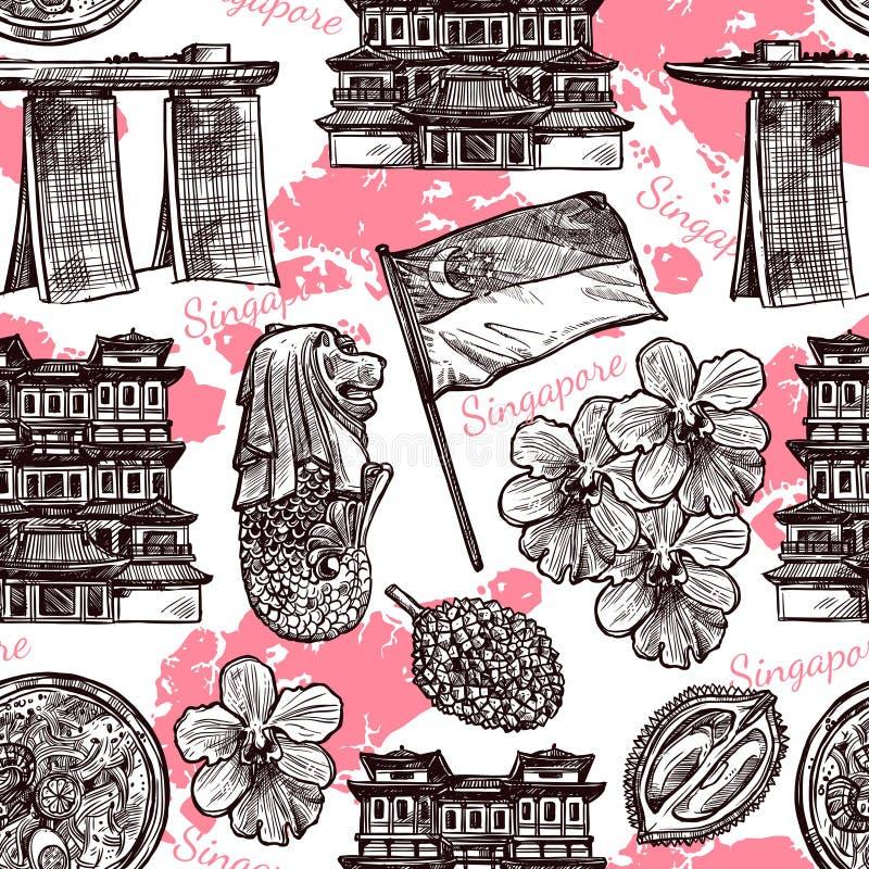Modelo inconsútil dibujado mano del bosquejo de Singapur stock de ilustración