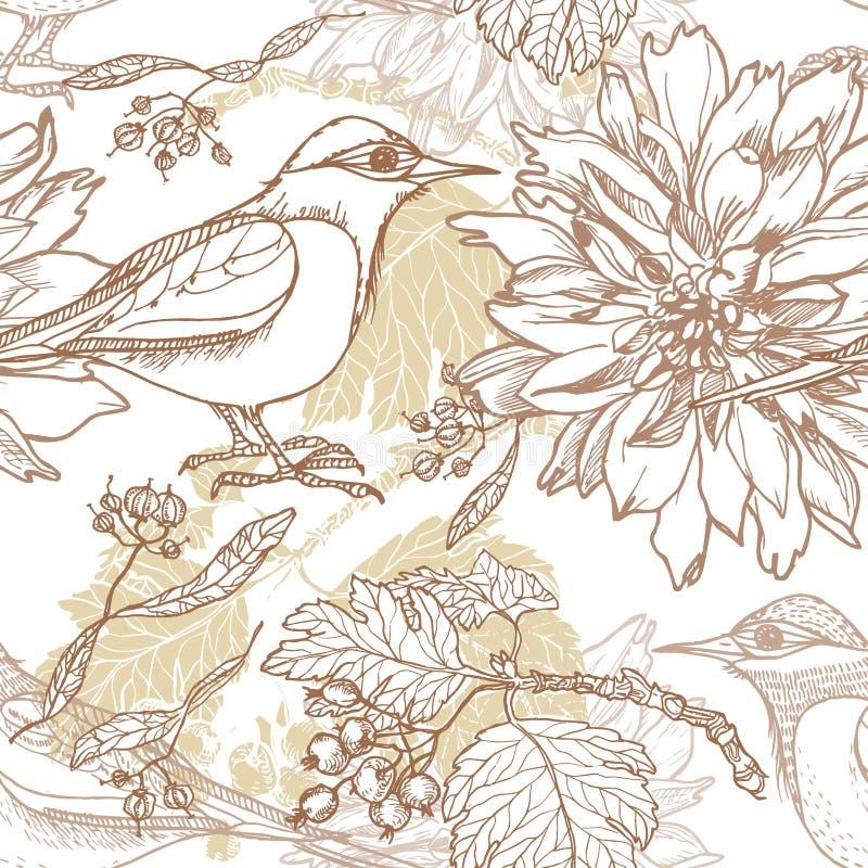 Modelo inconsútil dibujado mano del jardín del vintage libre illustration