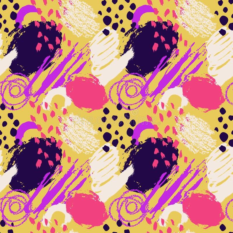 Modelo inconsútil dibujado mano del vector abstracto del grunge Fondo pintado con tinta Color blanco violeta rosado amarillo gran stock de ilustración