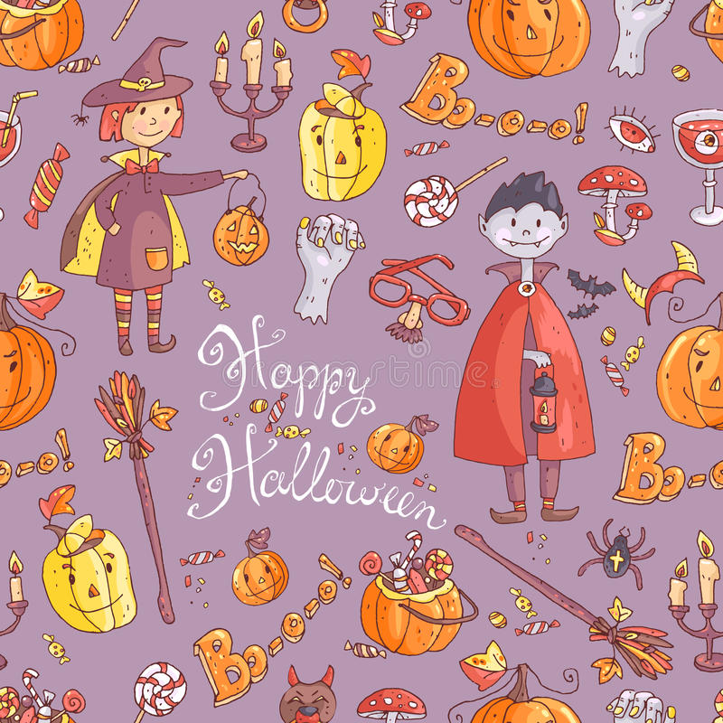 Modelo inconsútil dibujado mano del vector del garabato con el elemento de Halloween libre illustration