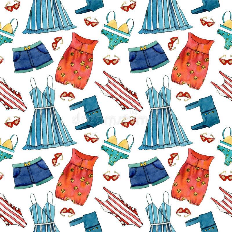 Modelo inconsútil dibujado mano del verano con el vestido, pantalones cortos, vidrios de sol, traje de natación stock de ilustración