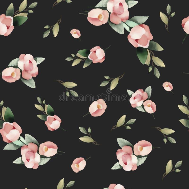 Modelo inconsútil dibujado mano en colores pastel de la flor del rosa de la pintura de la acuarela ilustración del vector