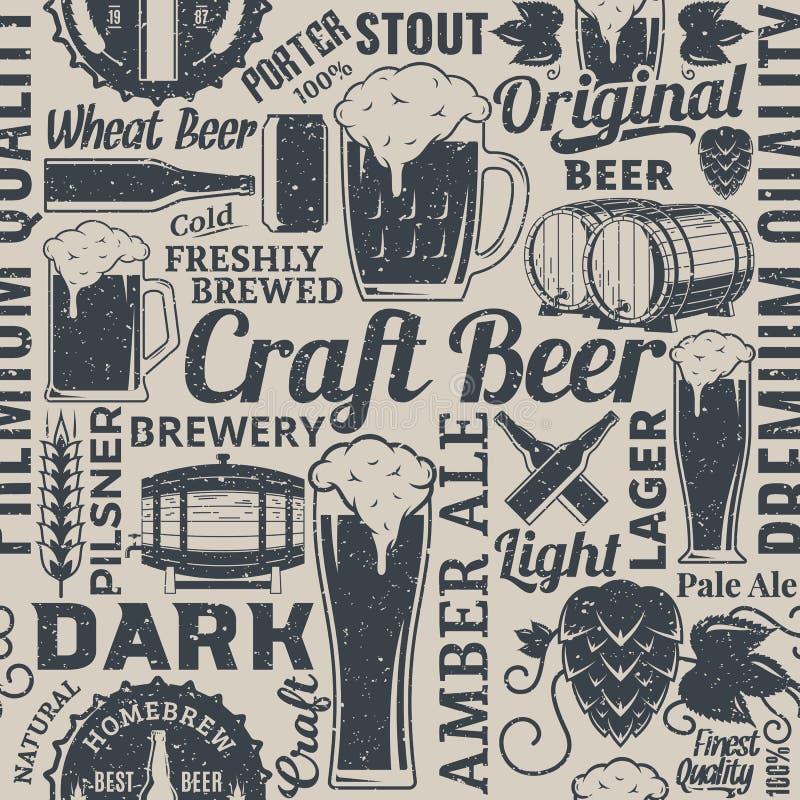 Modelo inconsútil diseñado retro o backgro de la cerveza tipográfica del vector stock de ilustración