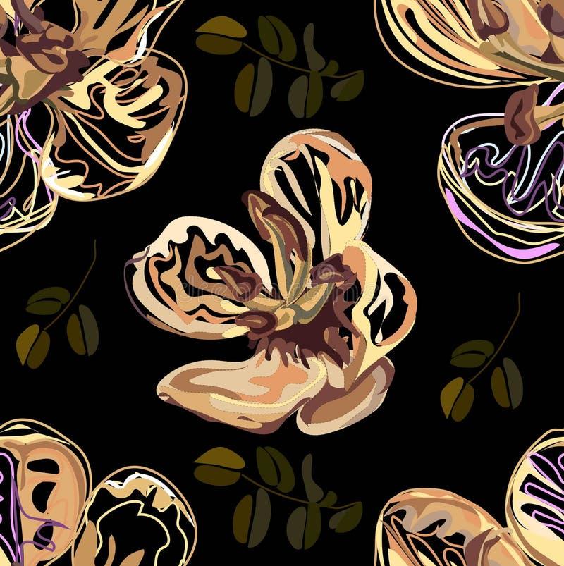 Modelo inconsútil, diseño gráfico, flor de la casia en estilo abstracto en fondo negro ilustración del vector