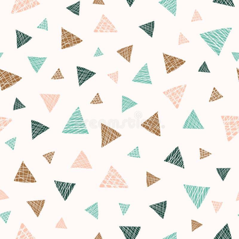 Modelo inconsútil dispersado en colores pastel del vector de los triángulos libre illustration