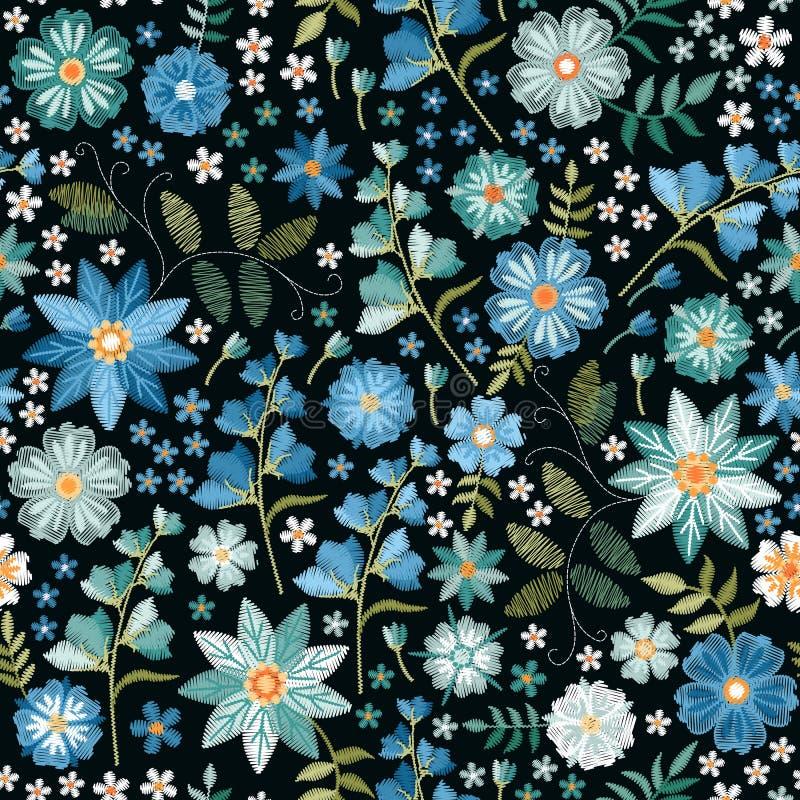 Modelo inconsútil ditsy del bordado con las flores salvajes hermosas en colores azules Impresión de moda para la tela, materia te stock de ilustración