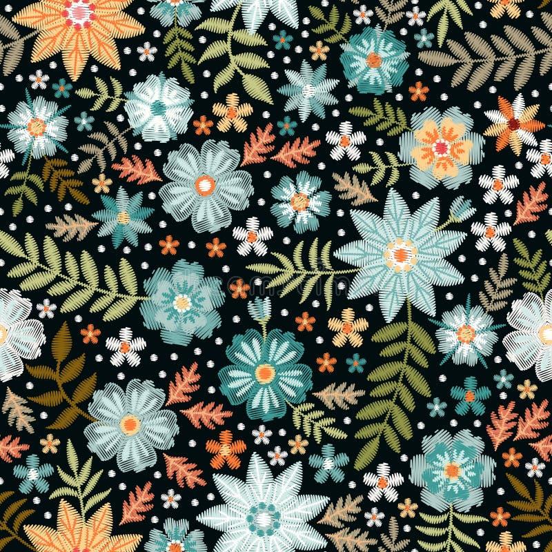 Modelo inconsútil ditsy del bordado con las flores salvajes hermosas Impresión floral para la tela y la materia textil Vector bor ilustración del vector
