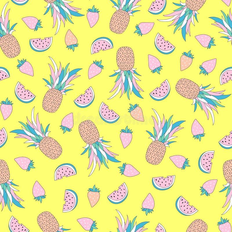 Modelo inconsútil divertido con las frutas tropicales ilustración del vector