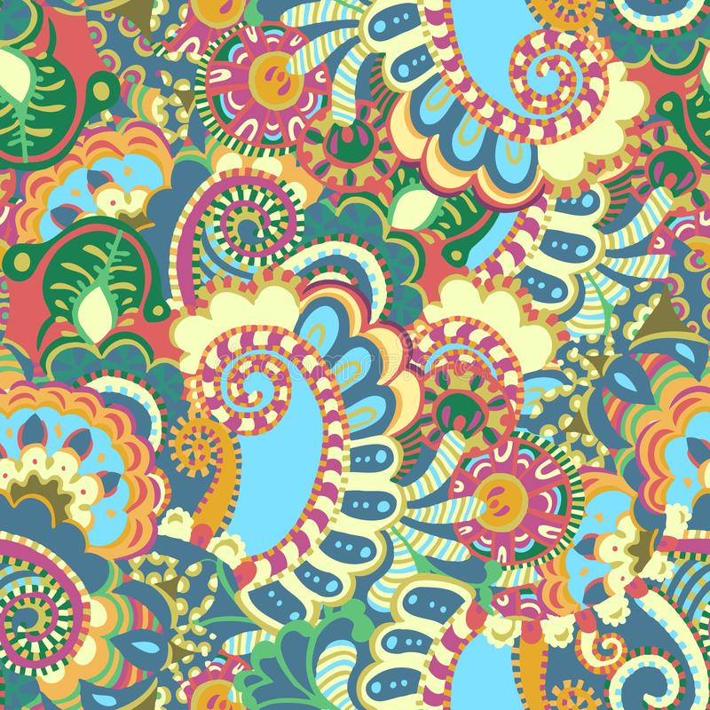 Modelo inconsútil divertido floral abstracto en el estilo del garabato para los niños foto de archivo