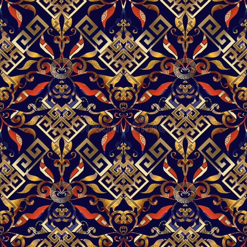Modelo inconsútil dominante griego floral Bri geométrico abstracto del vector ilustración del vector
