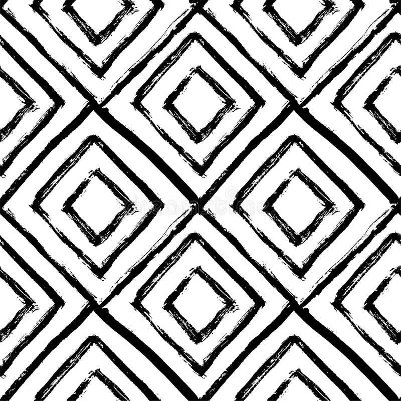 Modelo inconsútil drenado mano Blanco y negro, el grunge texturizó el ejemplo monocromático del vector stock de ilustración