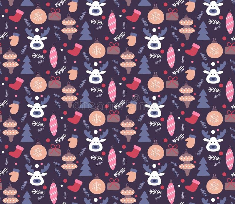 Modelo inconsútil drenado mano de la Navidad Los garabatos diseñan en color oscuro Fondo de las vacaciones de invierno, textura p libre illustration
