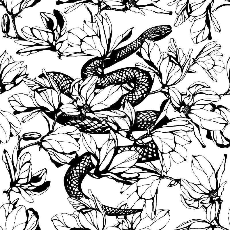 Modelo inconsútil Ejemplo dibujado mano de la tinta Serpiente y magnoli stock de ilustración