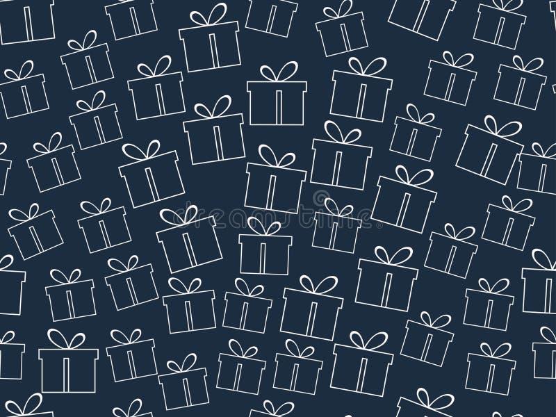 Modelo inconsútil El modelo de las cajas de regalo ilustración del vector