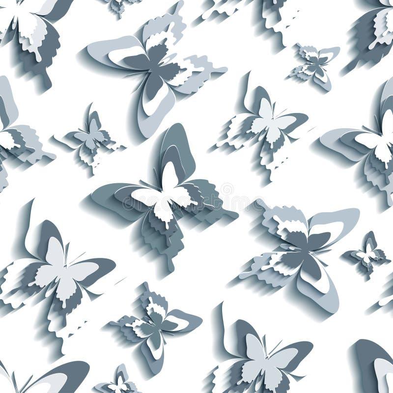 Modelo inconsútil elegante con blanco - mariposas grises libre illustration