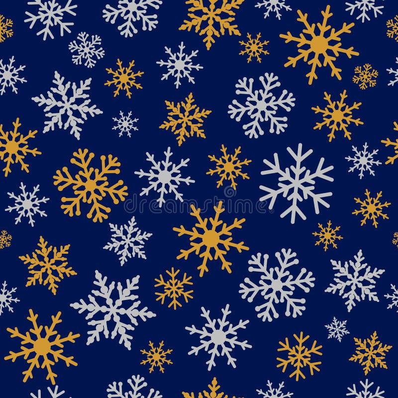 Modelo inconsútil elegante de los azules marinos de los copos de nieve de la plata y del oro ilustración del vector