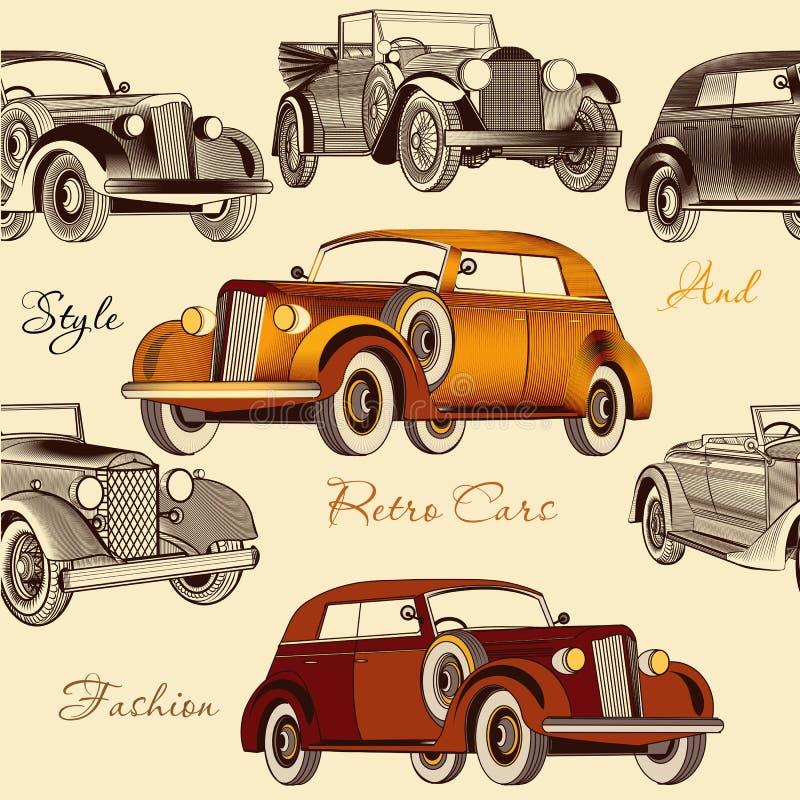 Modelo inconsútil elegante del papel pintado con los coches retros ilustración del vector