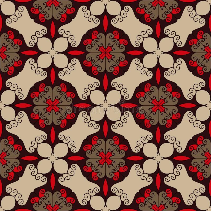 Modelo inconsútil elegante en colores rojos, marrones y beige Textura compleja del diseño web del flourish libre illustration