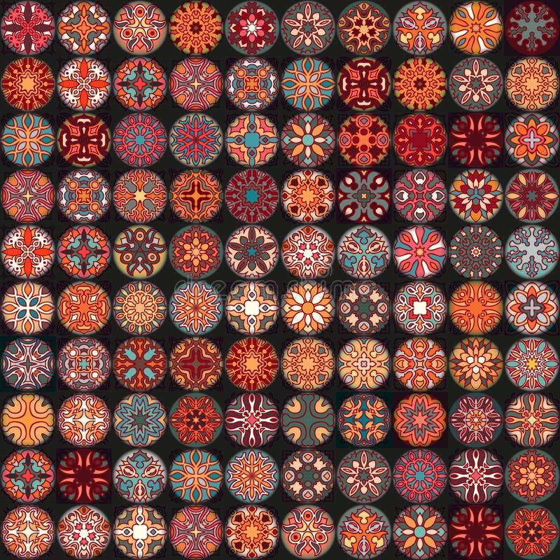 Modelo inconsútil Elementos decorativos de la vendimia Fondo dibujado mano Islam, árabe, indio, adornos del otomano Perfeccione p stock de ilustración