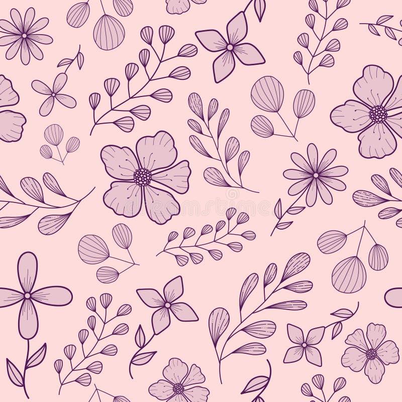 Modelo inconsútil en colores pastel con las flores y las ramas purpúreas claras del garabato en un fondo rosado ilustración del vector