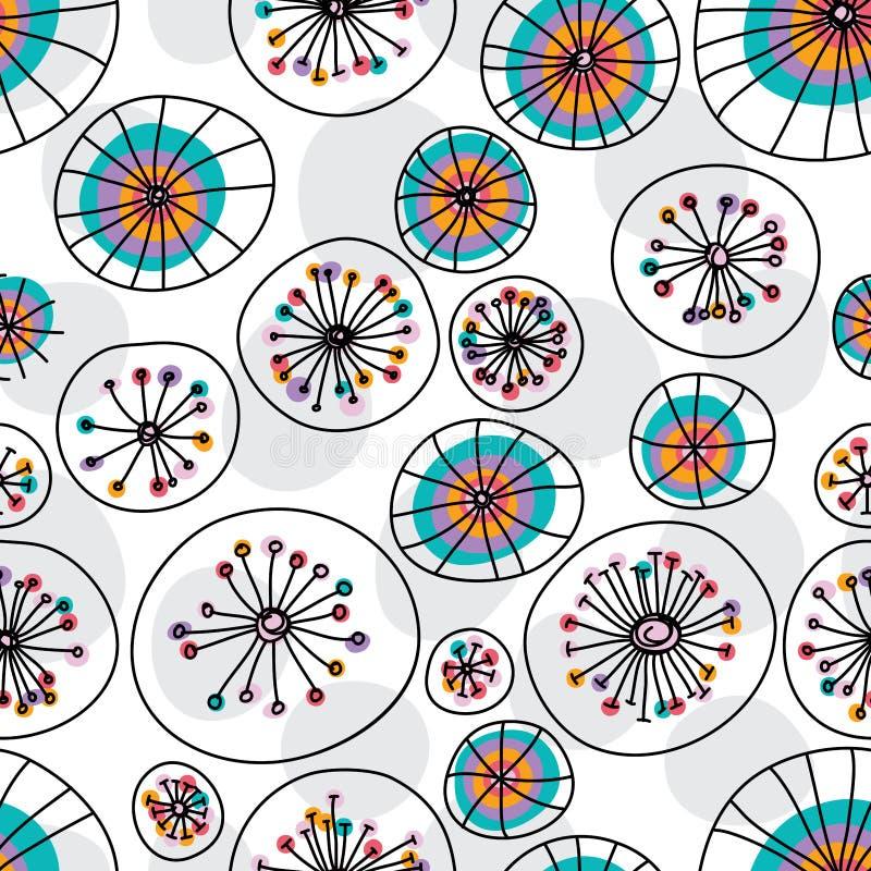 Modelo inconsútil en colores pastel de la cortina del círculo de la planta stock de ilustración