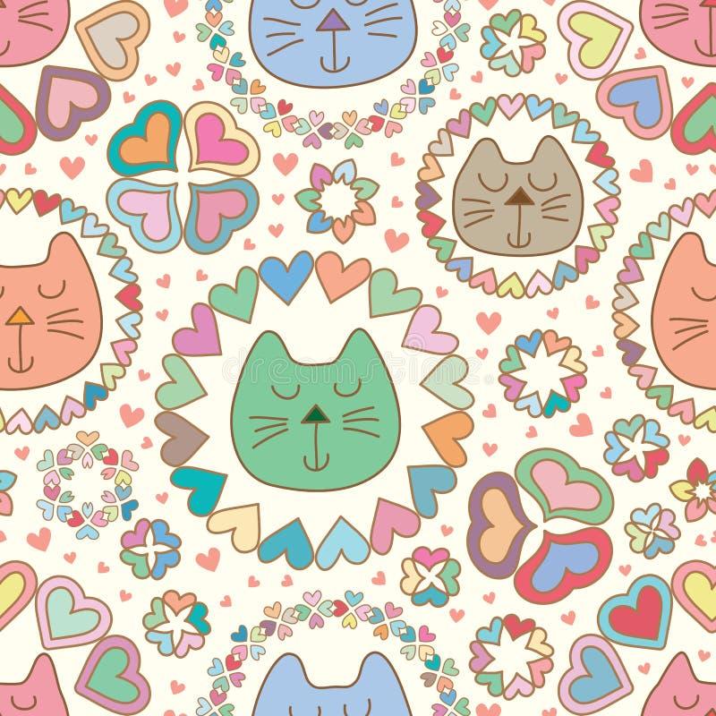 Modelo inconsútil en colores pastel del amor de la mandala del sueño del gato ilustración del vector