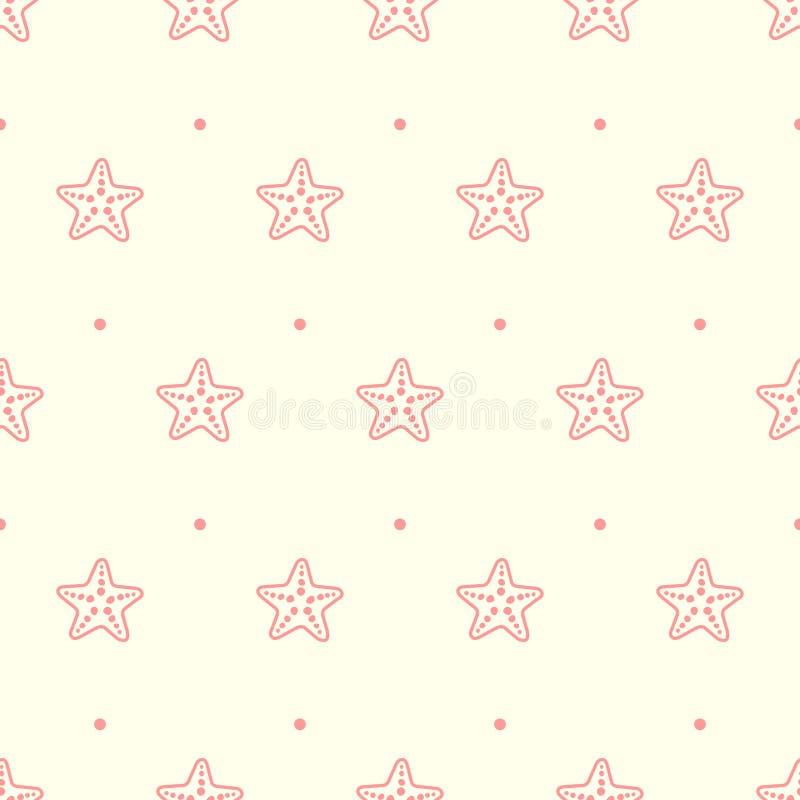 Modelo inconsútil en colores pastel del vector con las estrellas de mar del mar stock de ilustración