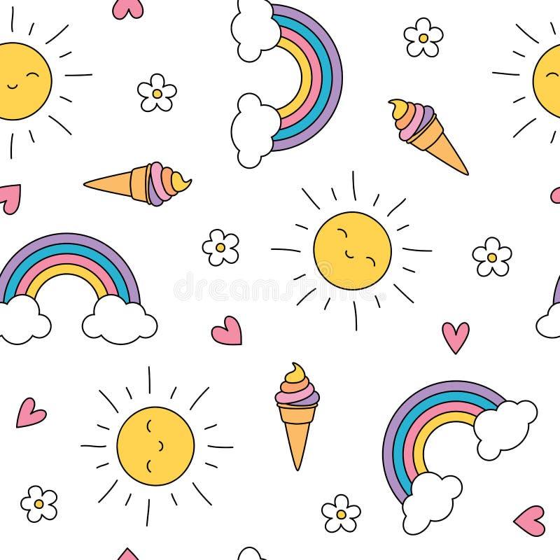 Modelo inconsútil en colores pastel lindo con helado, el sol, las flores y los arco iris stock de ilustración