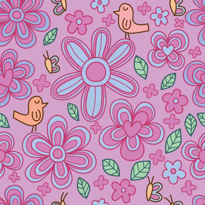 Modelo inconsútil en colores pastel lindo de la mariposa de la flor del pájaro libre illustration