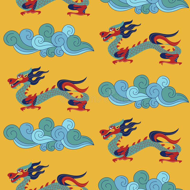 Modelo inconsútil en estilo chino nacional Ilustración del vector Para imprimir en las materias textiles, papel libre illustration