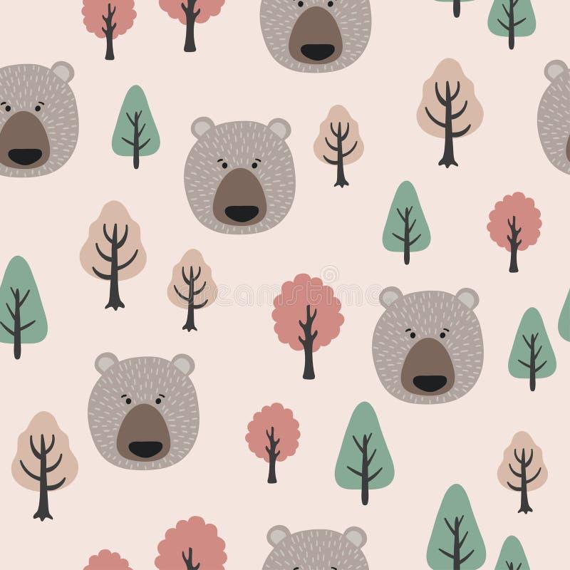 Modelo inconsútil en estilo escandinavo con los osos y los árboles lindos stock de ilustración