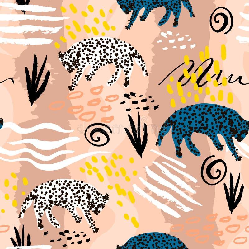 Modelo inconsútil en estilo tribal africano Textura con los leopardos y texturas y formas handcrafted Perfeccione para la tela, m ilustración del vector