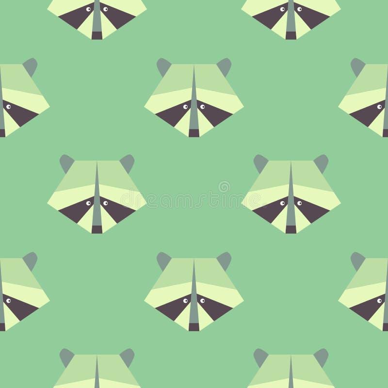 Modelo inconsútil en gráficos planos raccoon Ilustración del vector ilustración del vector