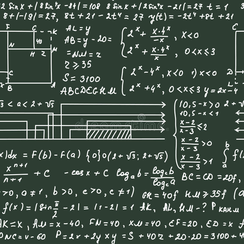 Modelo inconsútil en la pizarra verde con el texto de la escritura y las fórmulas matemáticas ilustración del vector