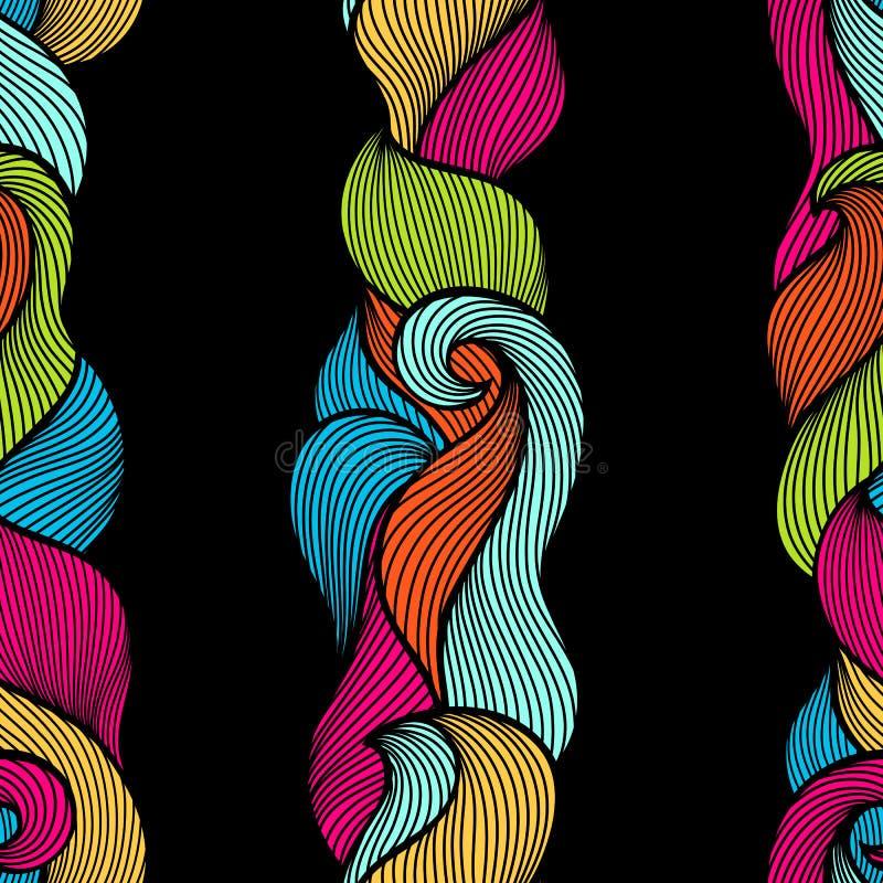 Modelo inconsútil encrespado ondulado Textura colorida del esquema abstracto ilustración del vector