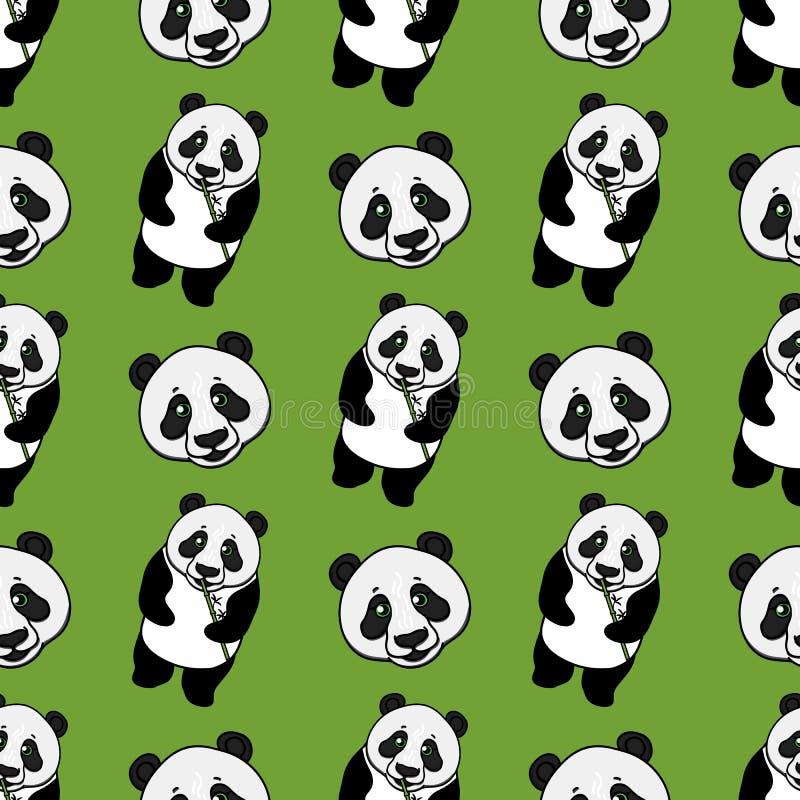 Modelo inconsútil entero y principal de la panda Ejemplo exhausto de la mano del vector en verde Diseño superficial libre illustration