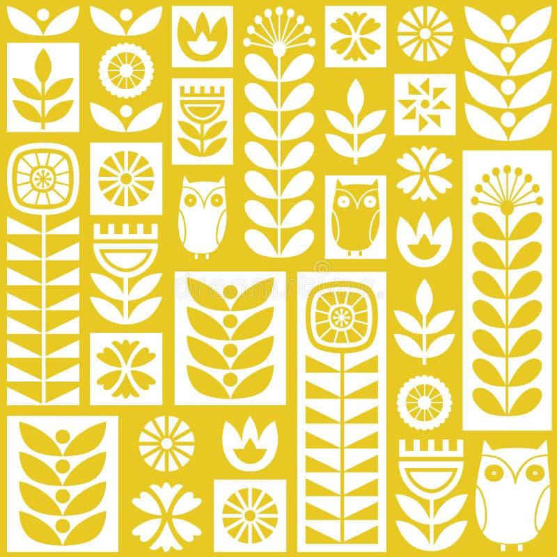 Modelo inconsútil escandinavo del vector del arte popular con las flores, las plantas y los búhos en estilo minimalista stock de ilustración