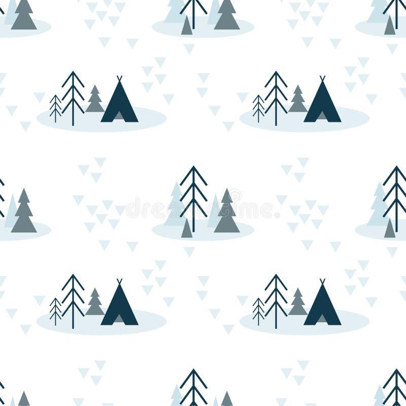 Modelo inconsútil escandinavo del vector de colores azules con el abeto, los árboles de pino y la tienda en el fondo blanco ilustración del vector