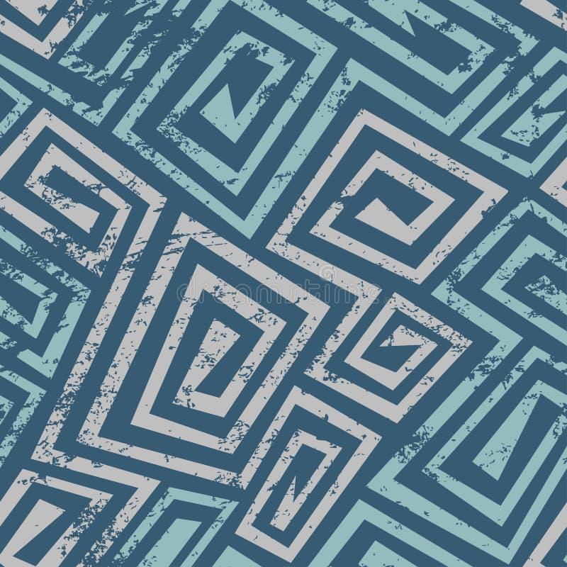 Modelo inconsútil espiral azul antiguo con efecto del grunge ilustración del vector