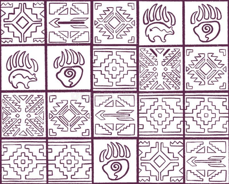 Modelo inconsútil espiritual del esquema con las flechas, las pistas animales y los elementos geométricos en estilo tribal stock de ilustración