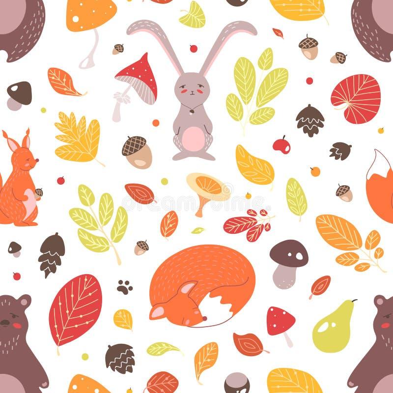 Modelo inconsútil estacional con los animales del bosque, las hojas de otoño, las bellotas y las setas salvajes adorables en el f libre illustration