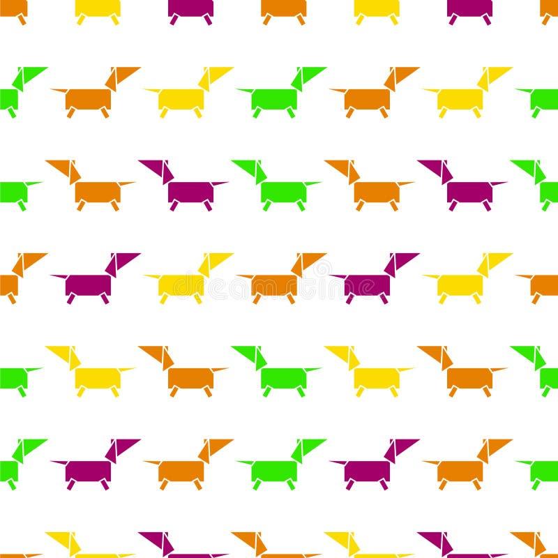 Modelo inconsútil estilizado del perro anaranjado, violeta, amarillo, verde en el fondo blanco stock de ilustración