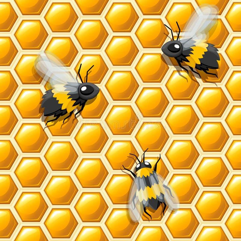 Modelo inconsútil Estilo plano del panal y de las abejas Ilustración del vector Modelo abstracto médico, producto natural de la m stock de ilustración